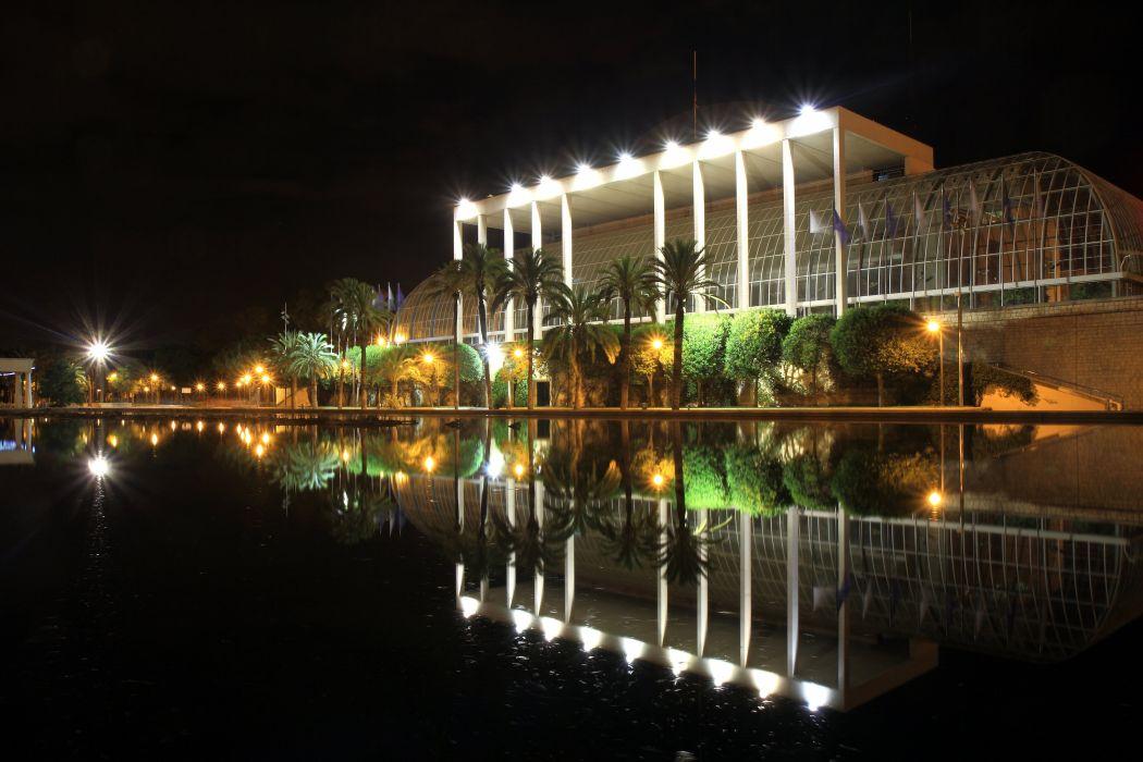 Spain Parks Palace Night Street lights Trees Palma Pools Palais de la Musique Valence Cities wallpaper