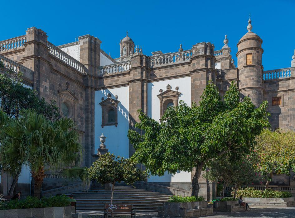 Spain Palace Stairs Trees Las Palmas Gran Canaria Cities wallpaper