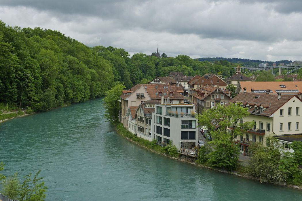 Switzerland Rivers Houses Bern Cities wallpaper