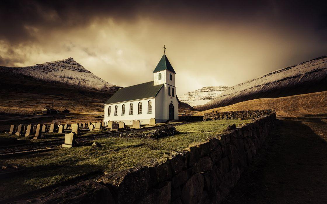Temples Mountains Sunrise Faroe Islands Cities wallpaper