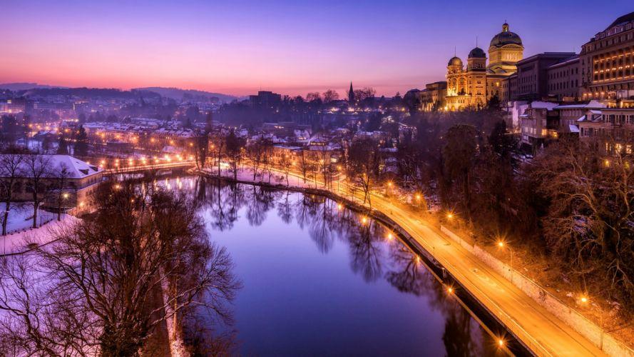 Switzerland Roads Pond Night Street lights Bern Cities wallpaper