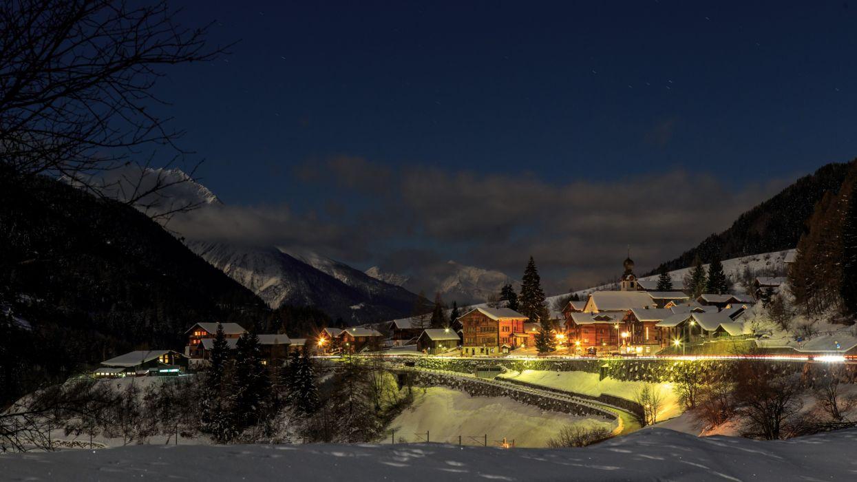 Switzerland Houses Winter Mountains Snow Night Street lights Blitzingen Goms Cities wallpaper