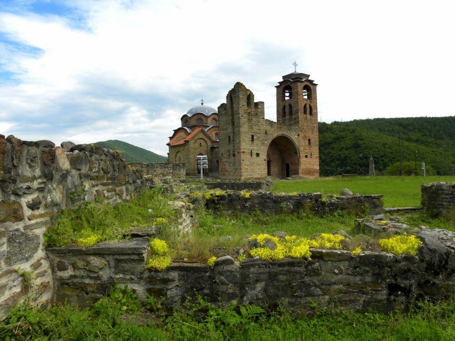 Temples Ruins Serbia Grass Stone Crkva Svetog Nikole Cities wallpaper