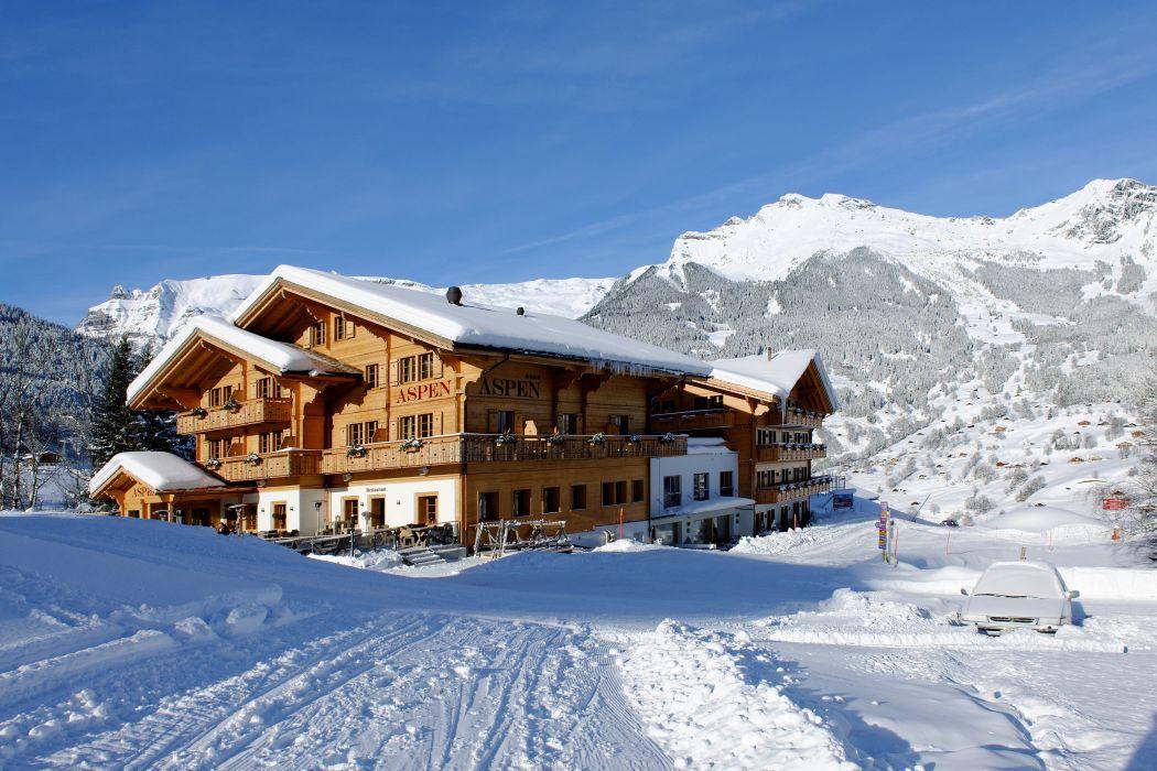 Switzerland Resorts Houses Winter Mountains Snow Beatenberg Cities wallpaper