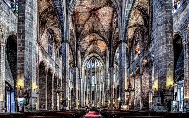 Temples Religion Barcelona HDR Santa Maria del Mar catalonia Cities wallpaper
