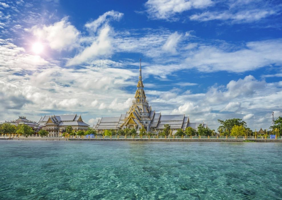 Thailand Temples Sky Waterfront Clouds Sothorn Temple Chachoengsao Province Cities wallpaper