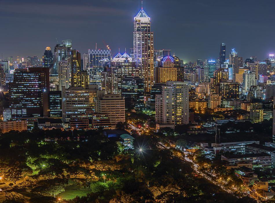 Thailand Houses Bangkok Megapolis Night Street lights Cities wallpaper