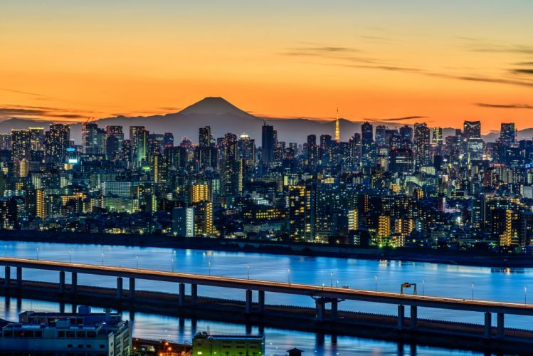 Tokyo Japan Mountains Houses Volcano Cities wallpaper