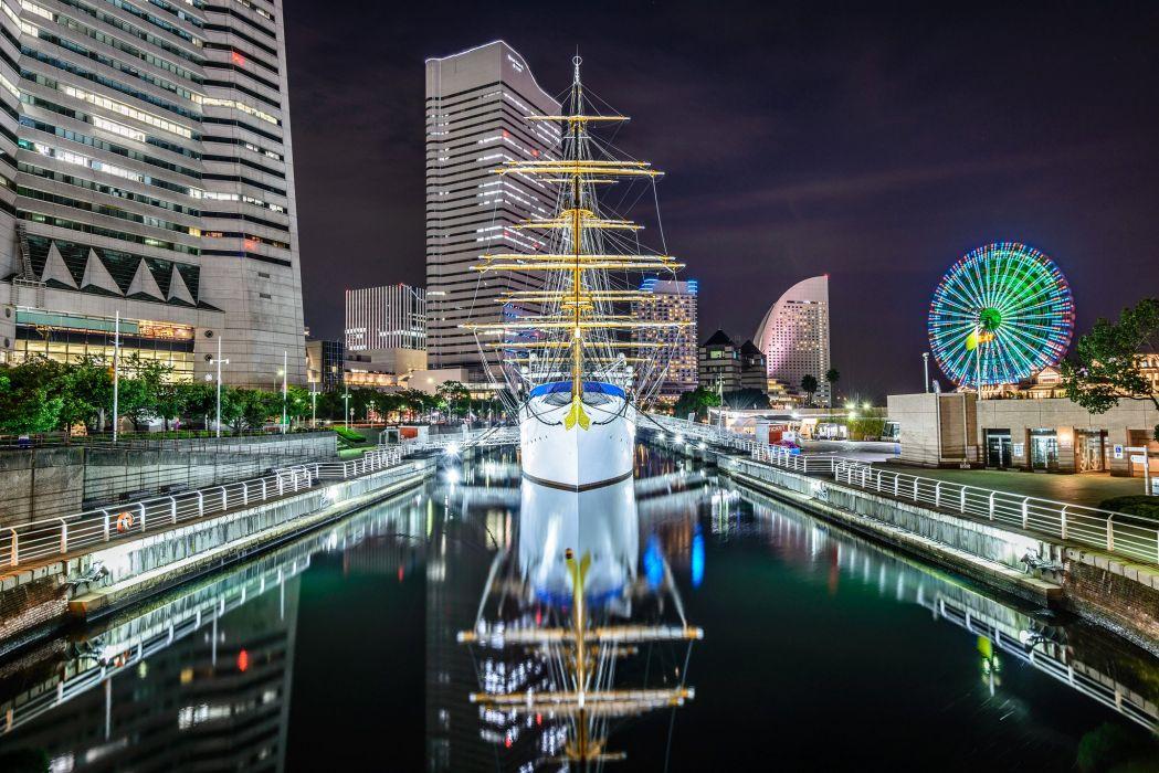 Tokyo Japan Ships Sailing Houses Nippon-maru Cities wallpaper
