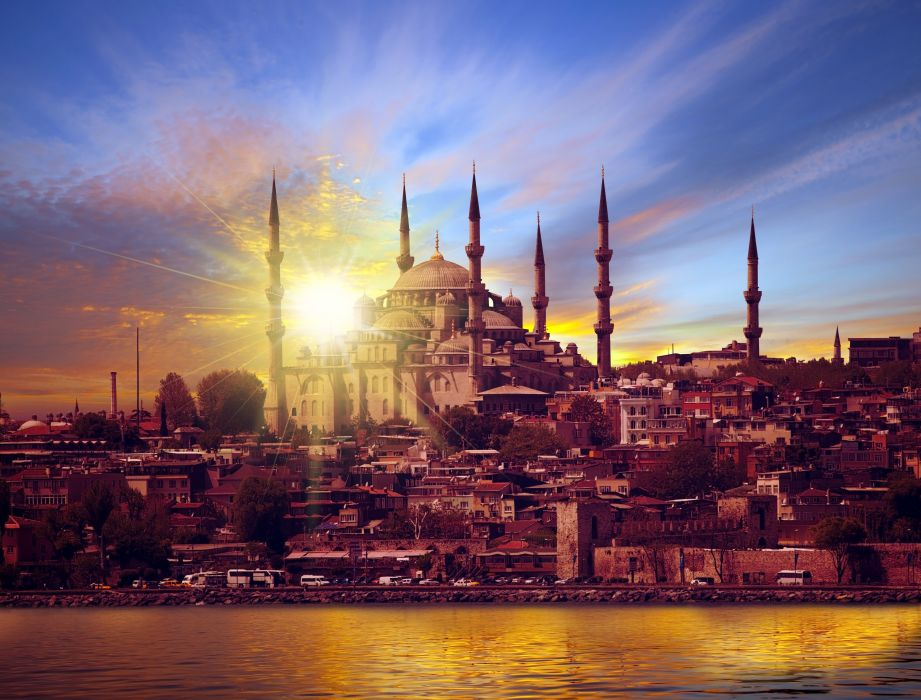 Turkey Houses Rivers Sunrises and sunsets Sky Palace Istanbul Cities wallpaper