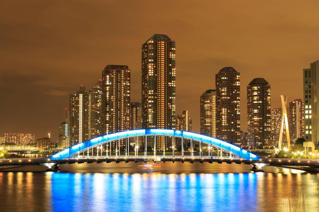 Tokyo Japan Skyscrapers Rivers Bridges Night Street lights Cities wallpaper