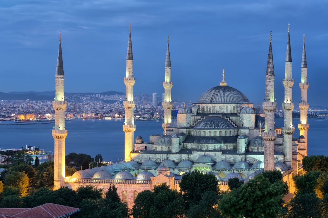 Turkey Palace Night Street Lights Sultan Ahmed Mosque Istanbul Cities Wallpaper