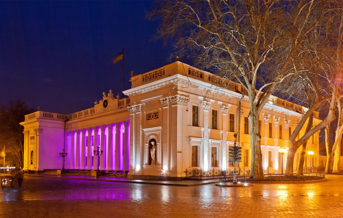 Ukraine Houses Night Street lights Trees Odessa Cities wallpaper