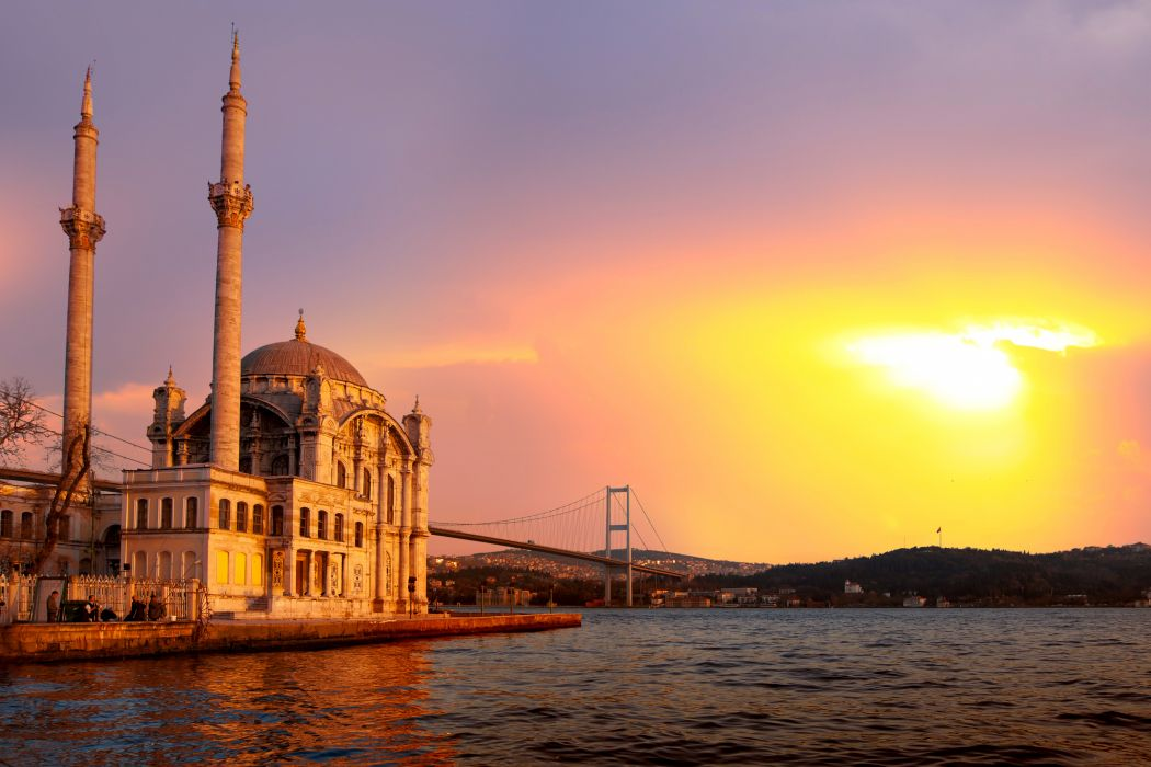 Turkey Sunrises and sunsets Temples Rivers Bridges Istanbul Cities wallpaper