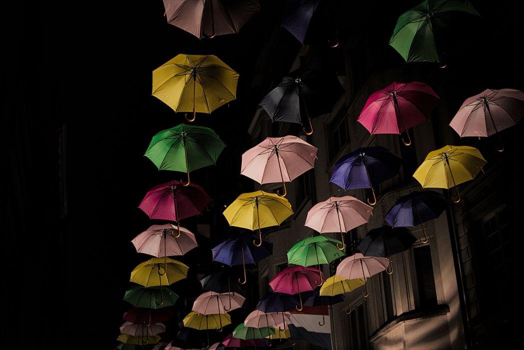 Umbrella Night Luxembourg Cities wallpaper