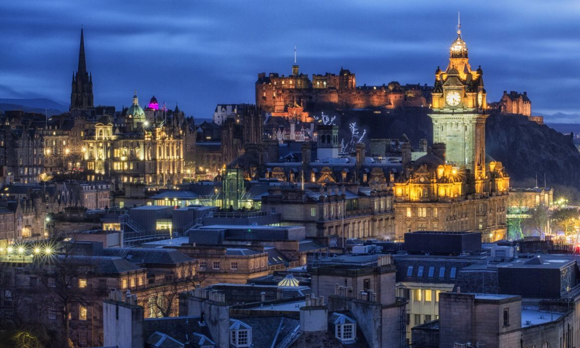 United Kingdom Castles Houses Night Edinburgh Castle Cities wallpaper