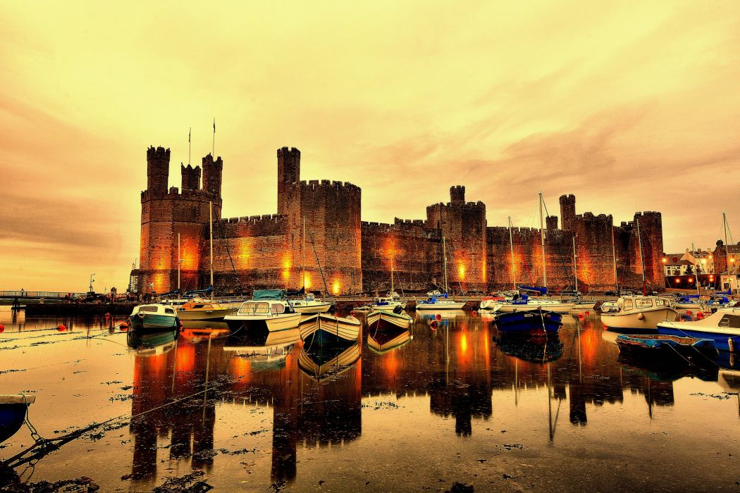 United Kingdom Castles Rivers Marinas Night Street lights Cearnarfon Castle North Wales Cities wallpaper