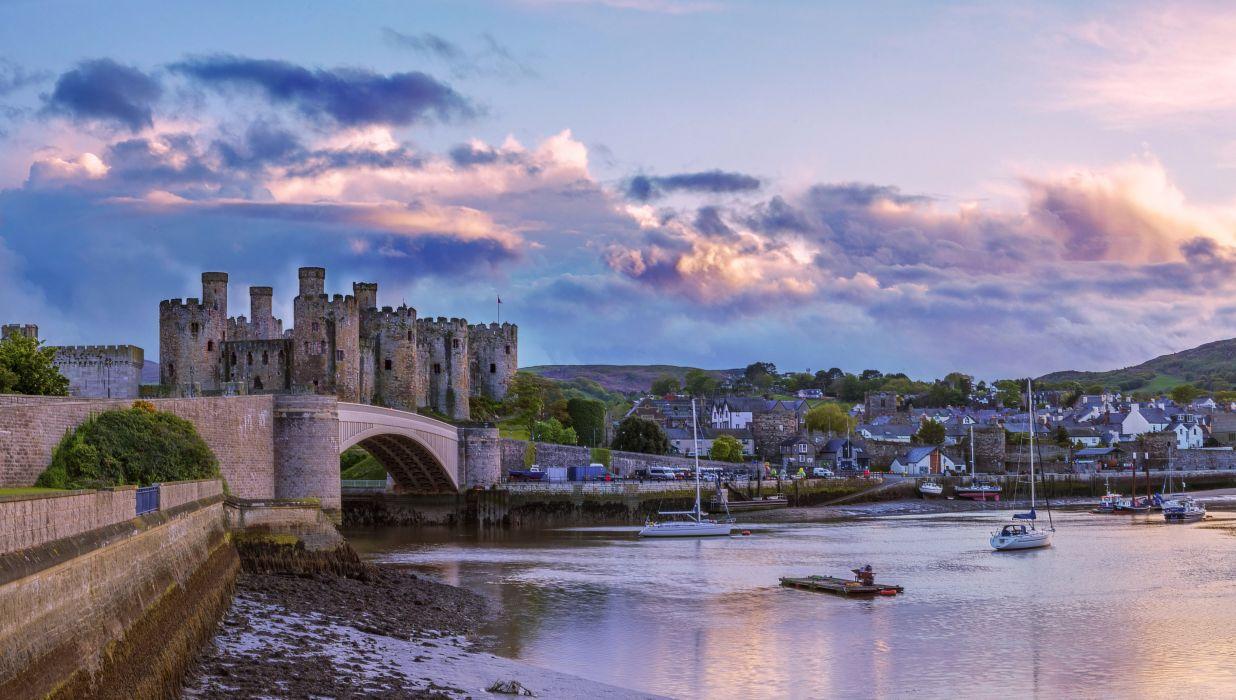 United Kingdom Castles Rivers Bridges Houses Clouds Conwy Castle Cities wallpaper