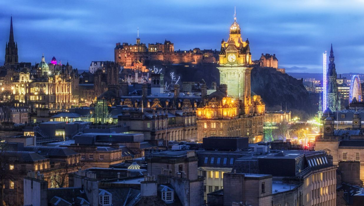 United Kingdom Houses Castles Night Edinburgh Cities wallpaper