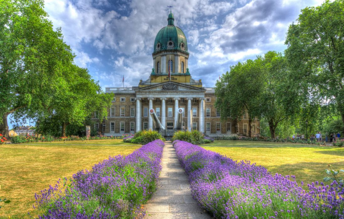 United Kingdom Houses Lavandula London Lawn HDR Imperial War Museums Cities wallpaper