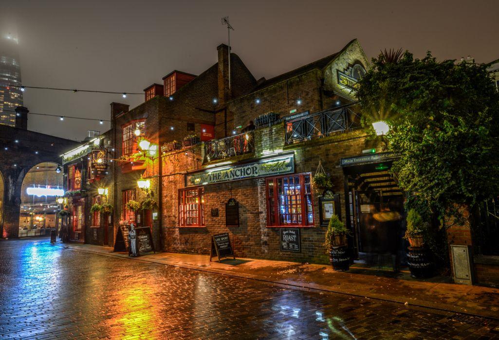 United Kingdom Houses London Street Night Street lights Cities wallpaper
