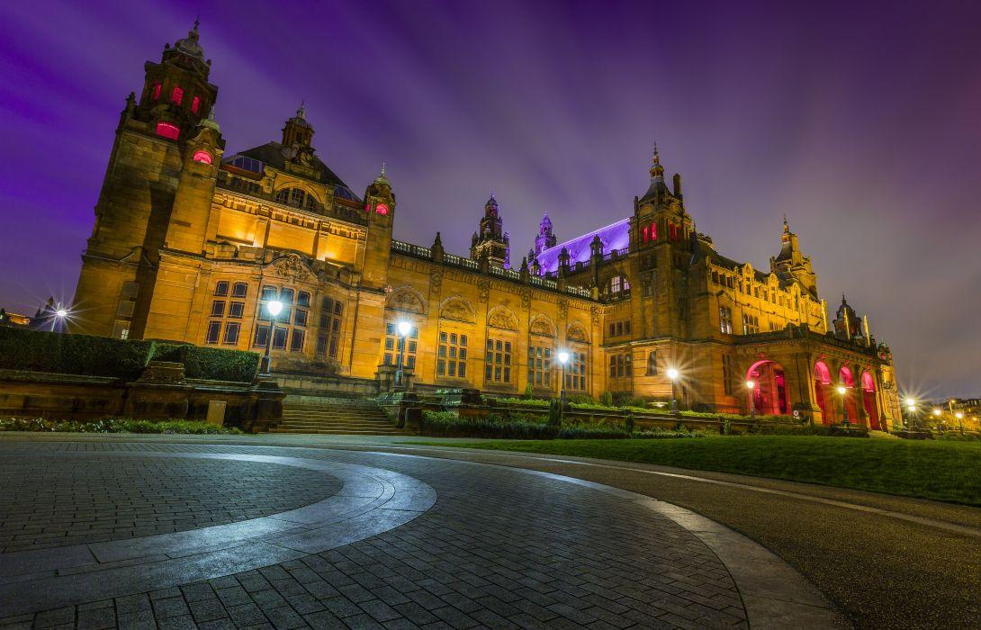 United Kingdom Houses Night Street lights Glasgow Kelvingrove Museum Cities wallpaper