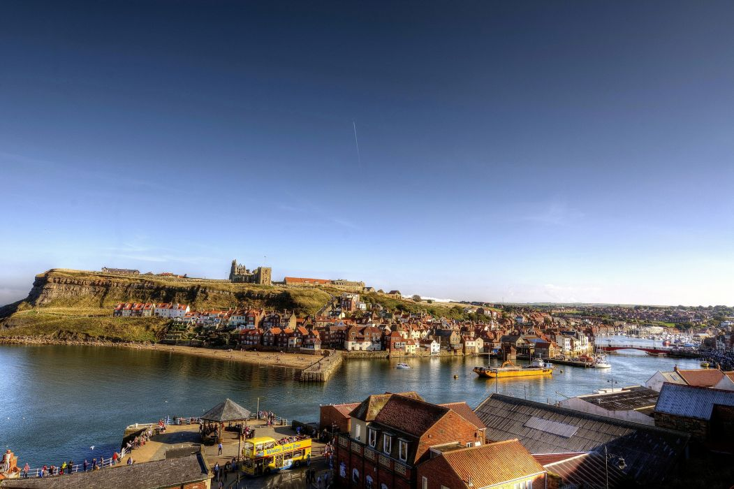 United Kingdom Houses Rivers Ships Sky Whitby North Yorkshire Cities wallpaper