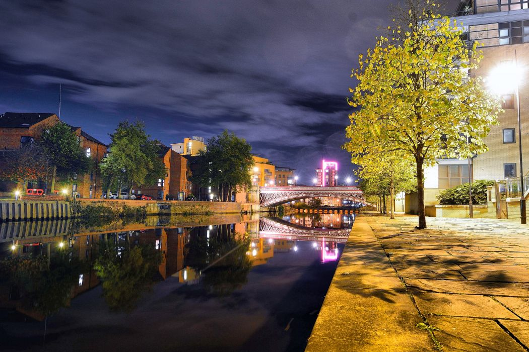 United Kingdom Houses Rivers Bridges Night Street lights Leeds Cities wallpaper