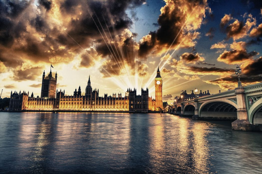 United Kingdom Houses Rivers Bridges London Street lights Night Clouds Rays of light Cities wallpaper
