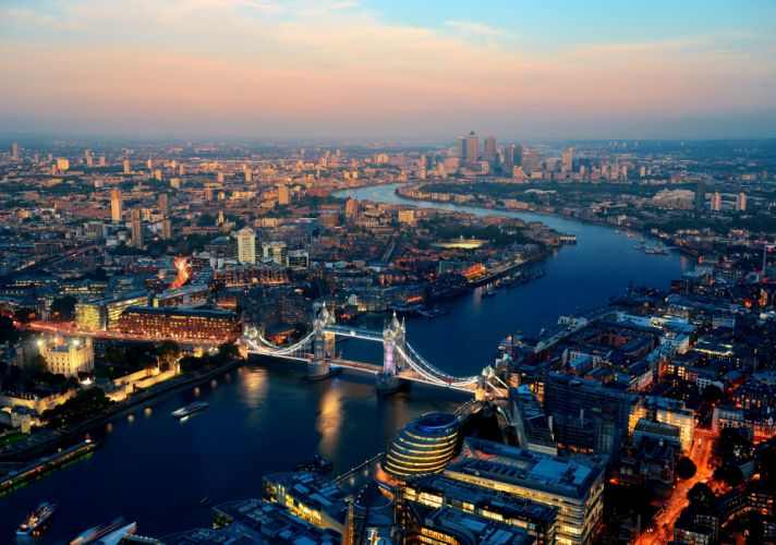 United Kingdom Houses Rivers Bridges Sunrises and sunsets England London Megapolis From above Cities wallpaper