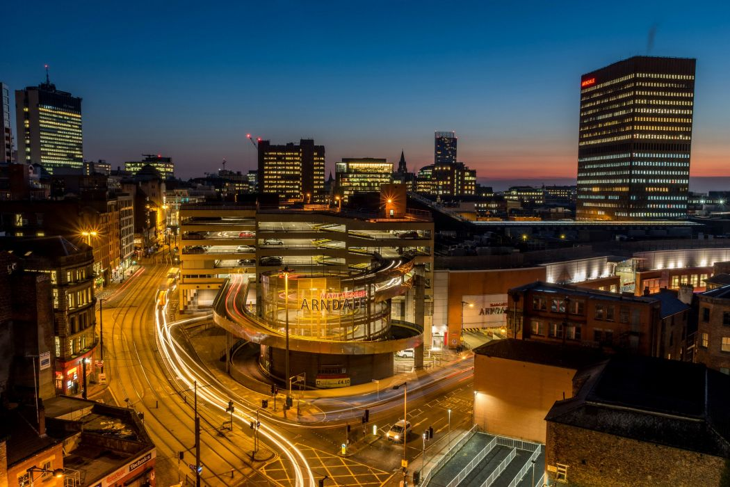 United Kingdom Houses Roads Night Street lights Street Manchester Arndale Centre Cities wallpaper