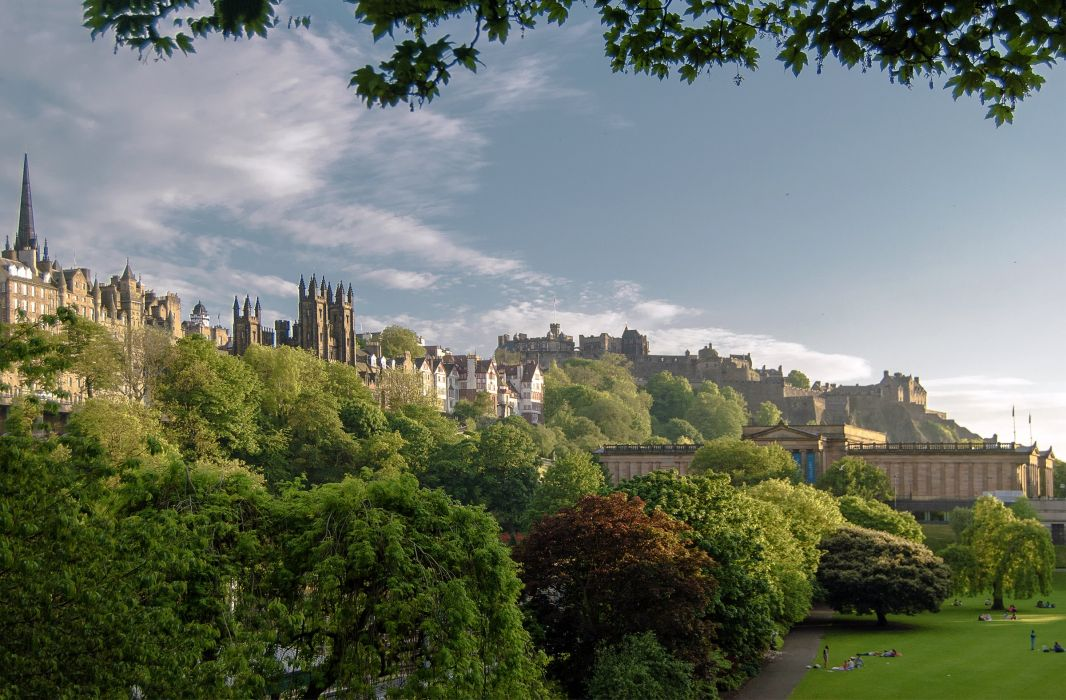 United Kingdom Palace Trees Lawn Edinburgh Cities wallpaper