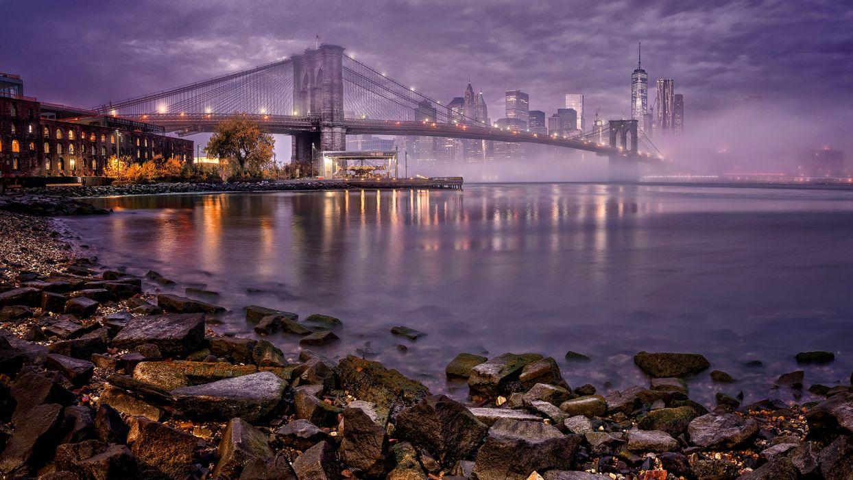 USA Bridges Houses Stones Coast Manhattan New York City Night Cities wallpaper