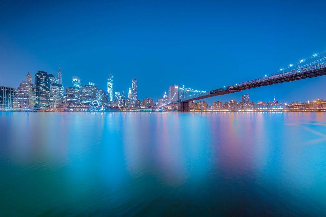 USA Bridges New York City Night Cities wallpaper