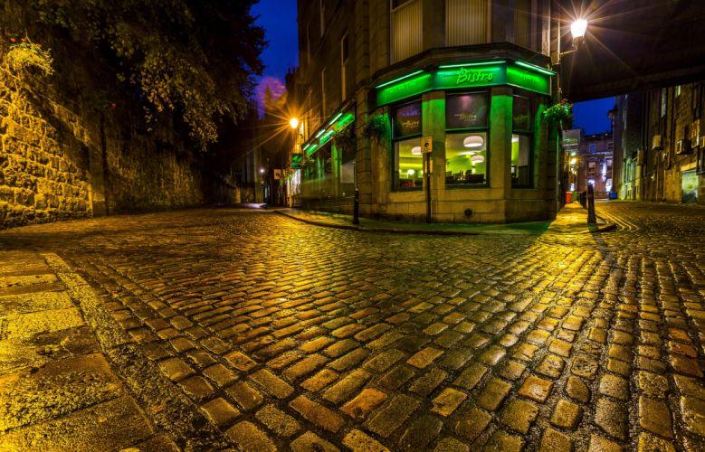 United Kingdom Scotland Houses Street Night Street lights Pavement Aberdeen Cities wallpaper