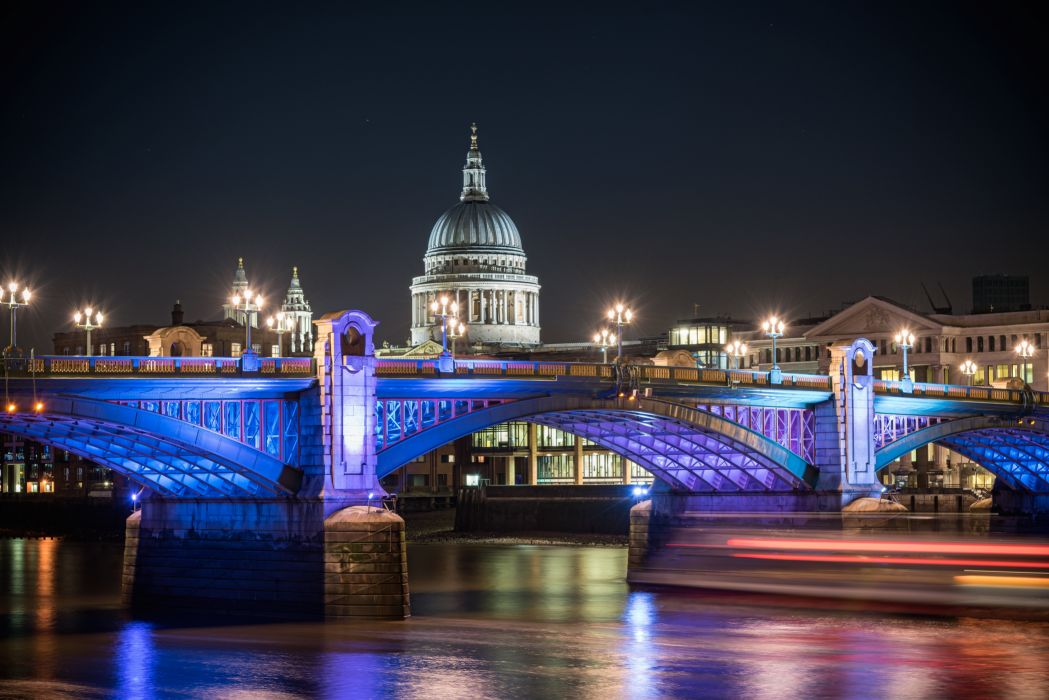 United Kingdom Rivers Bridges England London Night Street lights St Pauls Cathedral Cities wallpaper