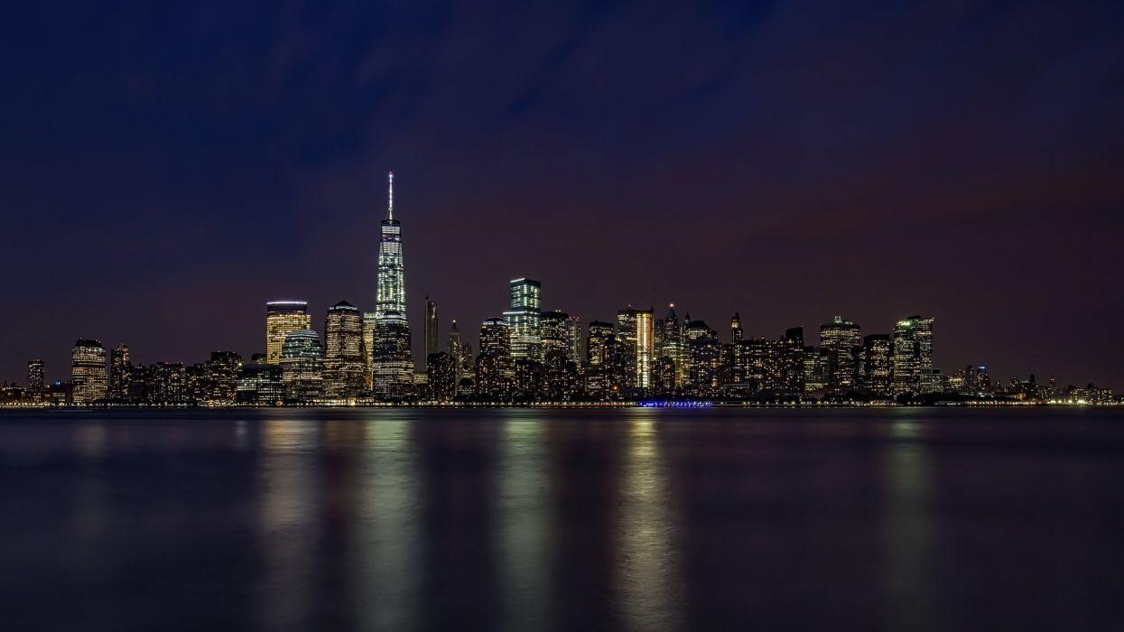 USA Coast Ocean New York City Manhattan Night Cities wallpaper