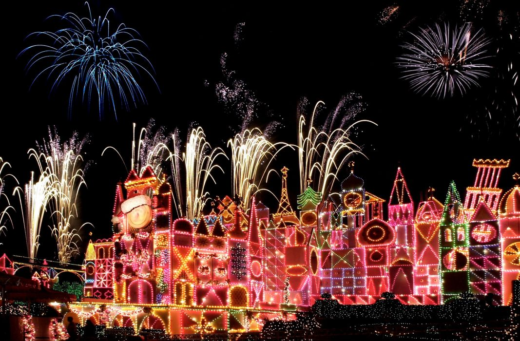 USA Disneyland Parks Christmas Fireworks California Anaheim Night Cities wallpaper