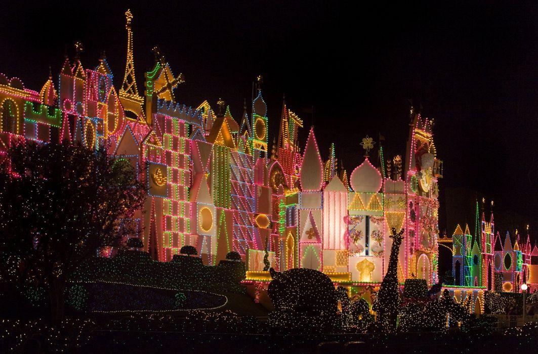 USA Disneyland Parks Holidays Christmas California Anaheim Fairy lights Cities wallpaper