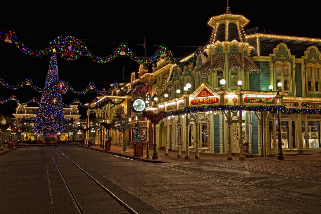 USA Disneyland Parks Houses Christmas HDR California Anaheim Street Christmas tree Fairy lights Night Cities wallpaper