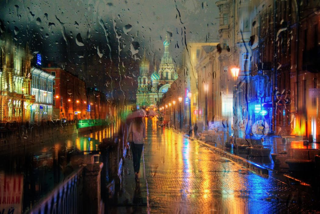 St Petersburg Russia Rain Street Umbrella Cities Girls wallpaper