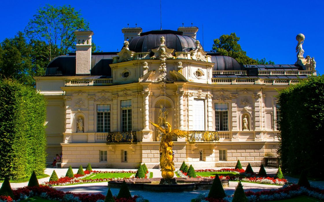 statue trees sky Schloss Linderhof Germany palace castle wallpaper