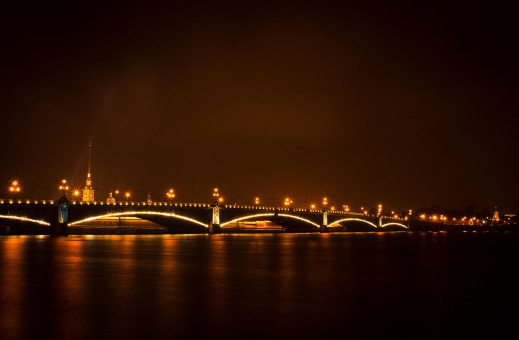 St Petersburg Russia Bridges Rivers Night Cities wallpaper