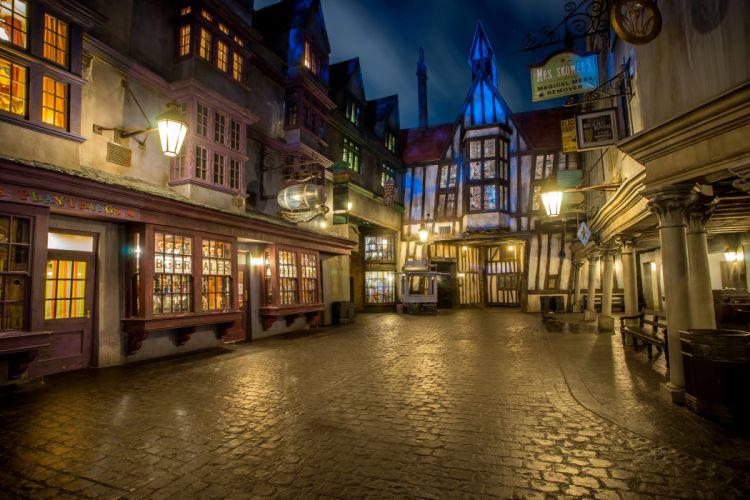 USA Disneyland Parks Houses California Anaheim Street Night Street lights Cities wallpaper