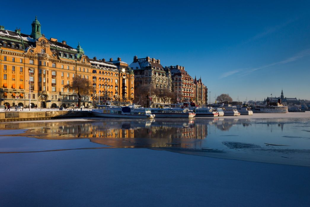 Sweden Ships Houses Sky Stockholm Waterfront Cities wallpaper