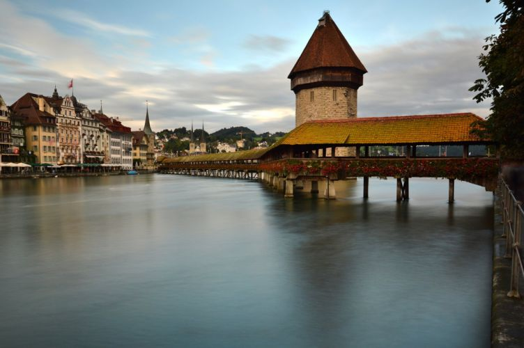 Switzerland Bridges Houses Rivers Lucerne Cities wallpaper