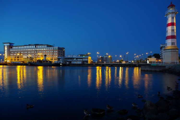 Sweden Houses Rivers Lighthouses Night Street lights Cities wallpaper