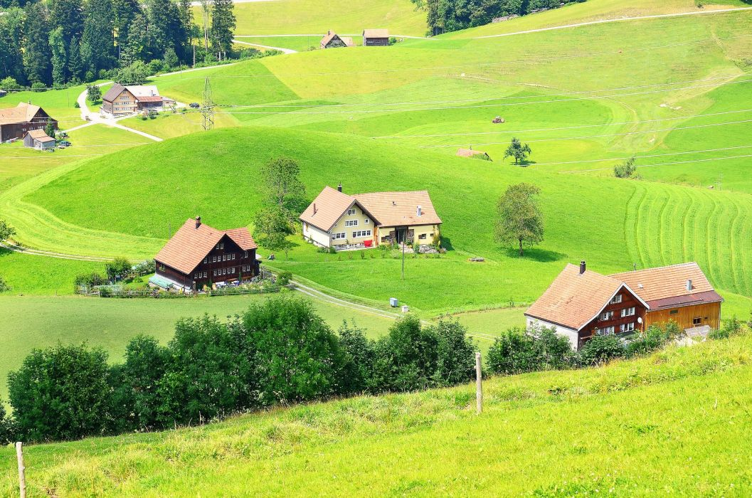 Switzerland Houses Fields Trogen Nature Cities wallpaper