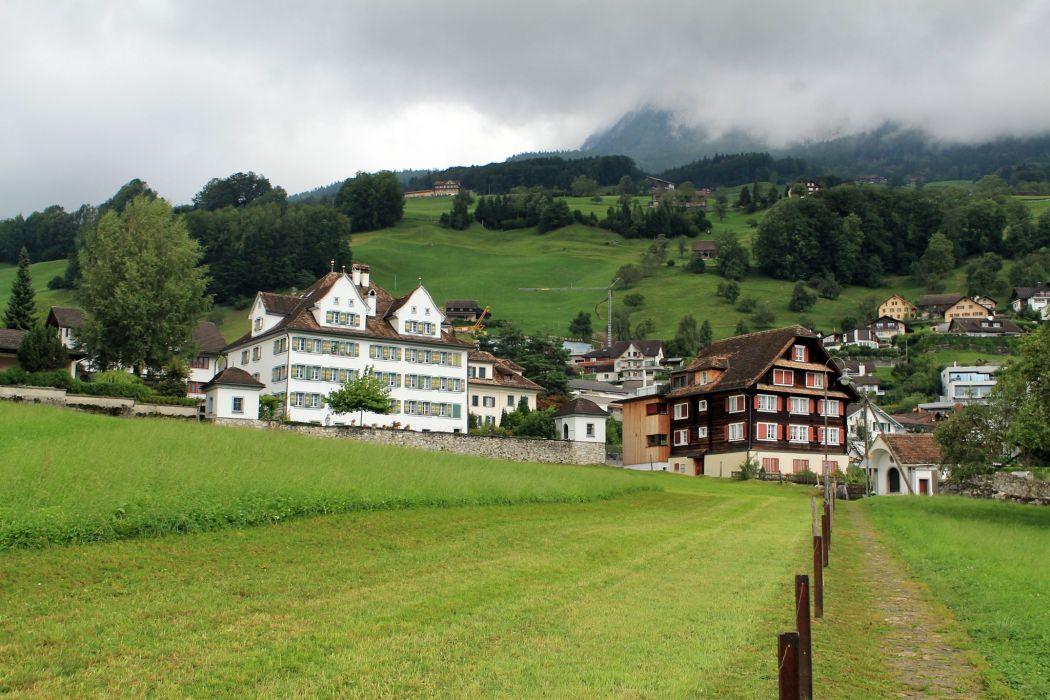 Switzerland Houses Mountains Grasslands Schwyz Cities wallpaper