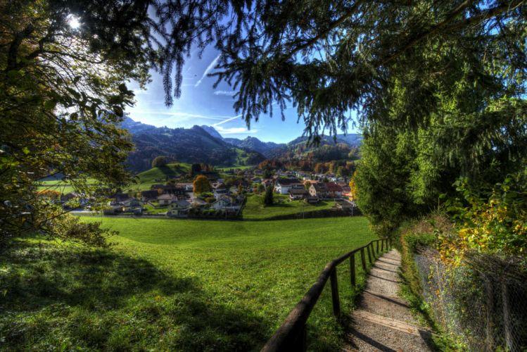 Switzerland Houses Mountains Grasslands HDR Grass Branches Gruyeres Cities wallpaper